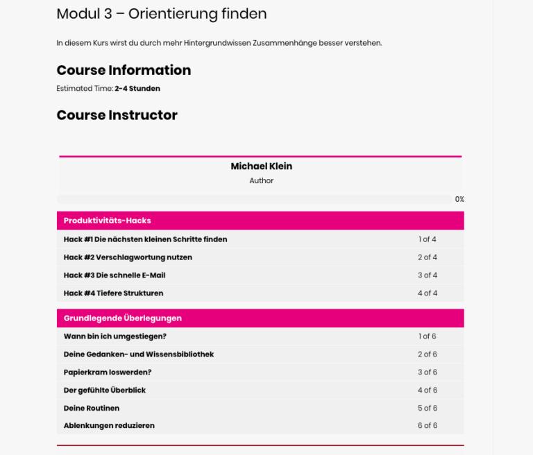 Das Online Modul 3 im Überblick.